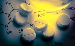 Τύπος αντίδρασης χημείας με τα άσπρα χάπια Στοκ εικόνα με δικαίωμα ελεύθερης χρήσης