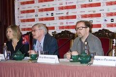 Τύπος-διάσκεψη του διεθνούς φεστιβάλ ταινιών της 37ης Μόσχας Στοκ φωτογραφία με δικαίωμα ελεύθερης χρήσης