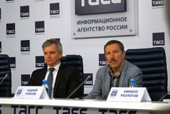 Τύπος-διάσκεψη του διεθνούς φεστιβάλ ταινιών της 38ης Μόσχας Στοκ Εικόνες