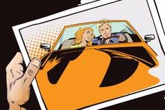 Τύπος και κορίτσι σε ένα αθλητικό αυτοκίνητο απεικόνιση αποθεμάτων