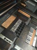 Τύπος κυλίνδρων με την κινητή περιουσία, τύπος μετάλλων που κλειδώνεται σε ένα αυλάκωμα Στοκ εικόνες με δικαίωμα ελεύθερης χρήσης