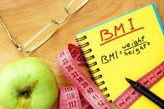 Τύπος μαζικών δεικτών σωμάτων BMI Στοκ Εικόνα