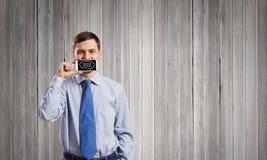 Τύπος με το κινητό τηλέφωνο Στοκ εικόνα με δικαίωμα ελεύθερης χρήσης