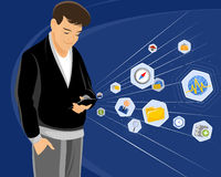 Τύπος με το smartphone Ελεύθερη απεικόνιση δικαιώματος
