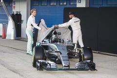 Τύπος 1, 2015: Παρουσίαση του νέου αυτοκινήτου Mercedes Στοκ Εικόνα