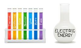 Τύπος της ηλεκτρικής ενέργειας. Έννοια με τις χρωματισμένες φιάλες. Στοκ Εικόνες