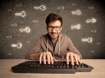 Τύπος χάκερ nerd με τα συρμένα κλειδιά κωδικού πρόσβασης Στοκ Φωτογραφίες