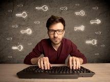 Τύπος χάκερ nerd με τα συρμένα κλειδιά κωδικού πρόσβασης Στοκ φωτογραφία με δικαίωμα ελεύθερης χρήσης