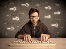 Τύπος χάκερ nerd με τα συρμένα κλειδιά κωδικού πρόσβασης Στοκ Εικόνες
