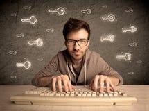 Τύπος χάκερ nerd με τα συρμένα κλειδιά κωδικού πρόσβασης Στοκ Φωτογραφία
