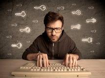 Τύπος χάκερ nerd με τα συρμένα κλειδιά κωδικού πρόσβασης Στοκ εικόνα με δικαίωμα ελεύθερης χρήσης