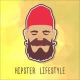 Τύπος Hipster σε ένα κόκκινο καπέλο μόδας Στοκ Εικόνες
