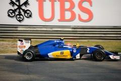 Τύπος 1 Sauber σε Monza που οδηγείται από το Felipe Nasr Στοκ φωτογραφίες με δικαίωμα ελεύθερης χρήσης