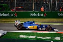Τύπος 1 Sauber σε Monza που οδηγείται από το Felipe Nasr Στοκ εικόνα με δικαίωμα ελεύθερης χρήσης