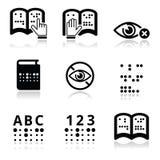 Τύφλωση, σύνολο εικονιδίων συστημάτων γραφής μπράιγ Στοκ Εικόνες