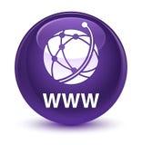 Υαλώδες πορφυρό στρογγυλό κουμπί WWW (εικονίδιο παγκόσμιων δικτύων) απεικόνιση αποθεμάτων