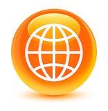 Υαλώδες πορτοκαλί στρογγυλό κουμπί παγκόσμιων εικονιδίων ελεύθερη απεικόνιση δικαιώματος