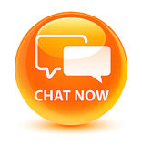 Υαλώδες πορτοκαλί στρογγυλό κουμπί συνομιλίας τώρα Στοκ Εικόνα
