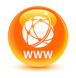 Υαλώδες πορτοκαλί στρογγυλό κουμπί WWW (εικονίδιο παγκόσμιων δικτύων) διανυσματική απεικόνιση