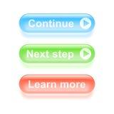 Υαλώδης συνεχίστε τα κουμπιά Στοκ Εικόνα