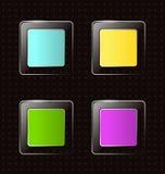 Υαλώδη τετραγωνικά εικονίδια στο Μαύρο διανυσματική απεικόνιση