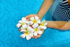 Υγεία γυναικών Καλοκαίρι Λουλούδια Plumeria SPA στο νερό Wellness, Στοκ Εικόνες