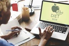 Υγεία διατροφής που τρώει την έννοια μέτρου διατροφής στοκ εικόνες