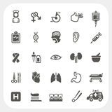 Υγεία και ιατρικά εικονίδια καθορισμένες Στοκ Φωτογραφίες