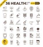 Υγεία και ιατρικά εικονίδια περιλήψεων εικονοκυττάρου τέλεια Στοκ εικόνα με δικαίωμα ελεύθερης χρήσης