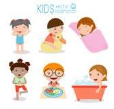 Υγεία και υγιεινή, καθημερινές ρουτίνες για τα παιδιά, διάνυσμα Στοκ Εικόνες
