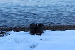Υγεία που παίρνετε από την κολύμβηση το χειμώνα στοκ εικόνα με δικαίωμα ελεύθερης χρήσης