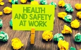 Υγείες και ασφάλειες κειμένων γραφής στην εργασία Οι ασφαλείς διαδικασίες έννοιας έννοιας αποτρέπουν τα ατυχήματα αποφεύγουν τον  στοκ φωτογραφία με δικαίωμα ελεύθερης χρήσης