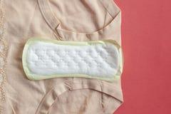 Υγειονομικά μαξιλάρια εμμηνόρροιας για την προστασία υγιεινής γυναικών στο καρό στο σπίτι Προστασία για τις κρίσιμες ημέρες γυναι στοκ φωτογραφίες με δικαίωμα ελεύθερης χρήσης