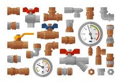 Υγειονομική εφαρμοσμένη μηχανική, καθορισμένα εικονίδια εξοπλισμού υδραυλικών Πίεση μανόμετρων, μετρητής, βιομηχανία, συναρμολογή διανυσματική απεικόνιση