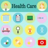 Υγειονομική περίθαλψη και ιατρικά εικονίδια καθορισμένες Στοιχείο σχεδίου Infographic επίσης corel σύρετε το διάνυσμα απεικόνισης Στοκ Φωτογραφία