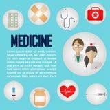 Υγειονομική περίθαλψη και ιατρικές πληροφορίες γραφικές Στοκ εικόνα με δικαίωμα ελεύθερης χρήσης