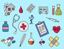 Υγειονομική περίθαλψη doodle το πλήρες χέρι σχεδίου χρώματος χρώματος που σύρεται με απεικόνιση αποθεμάτων