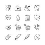 Υγειονομική περίθαλψη και ιατρικά εικονίδια - διανυσματική απεικόνιση, εικονίδια γραμμών καθορισμένα Στοκ Εικόνες