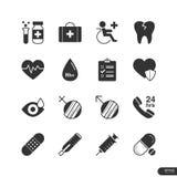 Υγειονομική περίθαλψη και ιατρικά εικονίδια καθορισμένες - διανυσματική απεικόνιση Στοκ Εικόνες