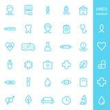 Υγειονομική περίθαλψη και ιατρικά ευθυγραμμισμένα εικονίδια καθορισμένες Στοκ Εικόνες