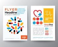 Υγειονομική περίθαλψη και ιατρικό σχεδιάγραμμα σχεδίου ιπτάμενων φυλλάδιων αφισών Στοκ Εικόνα
