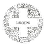 Υγειονομική περίθαλψη και σύνολο εικονιδίων ιατρικής Διανυσματικές απεικονίσεις doodle Στοκ Φωτογραφία