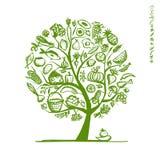 Υγιές δέντρο τροφίμων, σκίτσο για το σχέδιό σας ελεύθερη απεικόνιση δικαιώματος