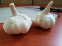 Υγιές αντιοξειδωτικό χορτάρι βολβών σκόρδου κατά την προετοιμασία τροφίμων Στοκ φωτογραφία με δικαίωμα ελεύθερης χρήσης