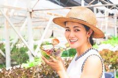 Υγιές ασιατικό κύπελλο σαλάτας εκμετάλλευσης γυναικών με την ντομάτα που τεμαχίζεται ευτυχής τρόπος ζωής στοκ εικόνα