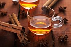 Υγιές βοτανικό τσάι με το γλυκάνισο αστεριών και κανέλα σε ένα φλυτζάνι στοκ εικόνες