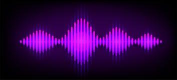 Υγιές διανυσματικό υπόβαθρο κυμάτων νέου Σχέδιο μουσικής soundwave, πορφυρά ελαφριά στοιχεία που απομονώνονται στο σκοτεινό σκηνι διανυσματική απεικόνιση