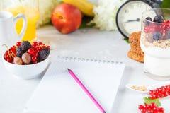 Υγιές ελαφρύ πρόγευμα: παρφαί με το muesli, τα μούρα και το γιαούρτι Στοκ Εικόνες