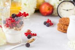 Υγιές ελαφρύ πρόγευμα: παρφαί με το muesli, τα μούρα και το γιαούρτι Στοκ εικόνα με δικαίωμα ελεύθερης χρήσης