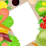 Υγιές διανυσματικό κενό πρότυπο τροφίμων και εγγράφου Στοκ Εικόνες